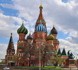 View on Saint Basil's Cathedral, also known as Cathedral of Vasily the Blessed. Placed on Red Square, near at Kremlin. Russia, Moscow.