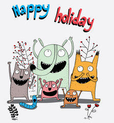 All kinds of animals are very happy because today is a holiday in their work.Creative idea concept.Cartoon animals the cute monster vector character design.