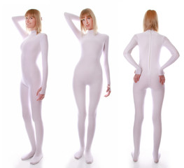 cute young woman standing in a white stretch spandex tight jumpsuit on all sides on white background isolated