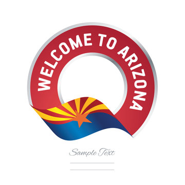 Welcome to Arizona USA flag ribbon travel logo icon stamp