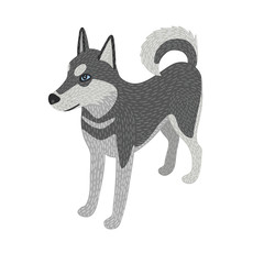Husky dog detailed, isometric, isolated