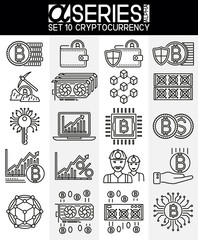 Thin Line Design Icons of Cryptocurrency