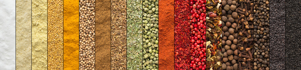 collage of spices and herbs, set  colorful seasoning, background