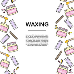 Banner template with waxing and hair removal illustration.