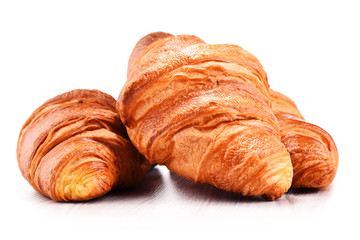 Composition with croissants isolated on white
