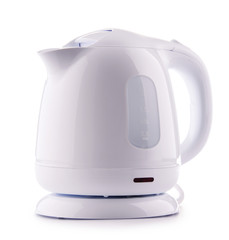 White plastic electric kettle isolated on white