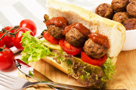 Homemade spicy meatball sub sandwich