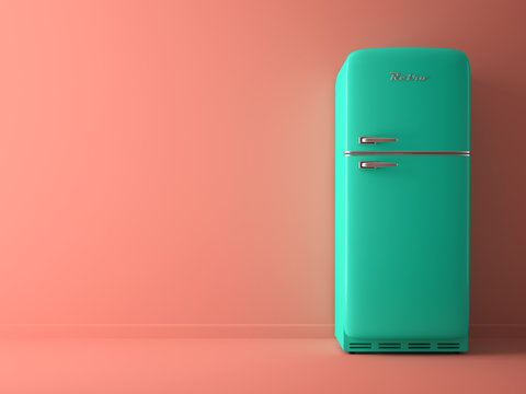 Pink Interior with blue fridge 3D illustration