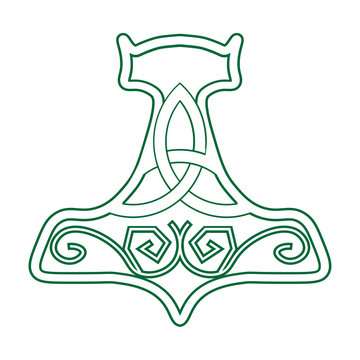 Vector illustration for Nordic community: Mjolnir or the Hammer of Thor. Old germanic symbol of god Thor, his hammer, known as Mjolnir.