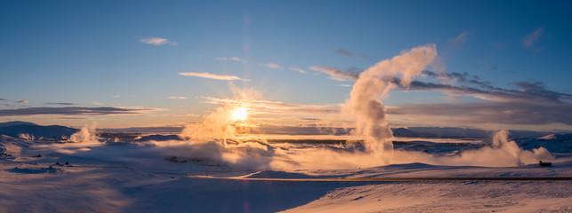 Sunset at geothermal power station, iceland (Myvatn)