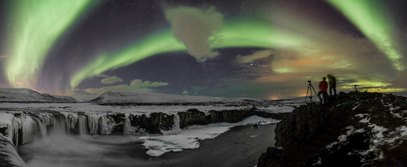Northern Lights over Godafoss, Iceland