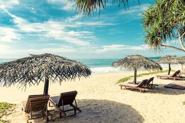 Obraz Beach beds with umbrellas on tropical beach in Sri Lanka - fototapety do salonu