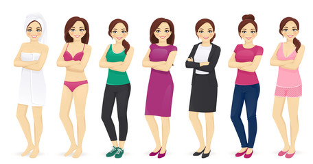 Woman day in different clothes vector illustration set