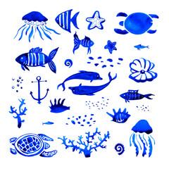 Sealife watercolor hand drawn stylized set