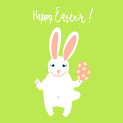 Happy Easter card template with cute white bunny holding a decorated egg on green background with hand written lettering.