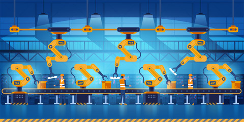 Efficient smart factory with workers, robots and assembly line, industry 4.0 and technology concept