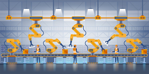 Smart factory. Industry 4.0 and technology concept. Production conveyor belt with factory operational people in uniform. Vector illustration
