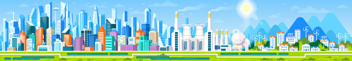 Cityscape panorama with different buildings, Office center, Stores and Headquarters, Private houses, Cottage with parks and mountains. Industrial factory