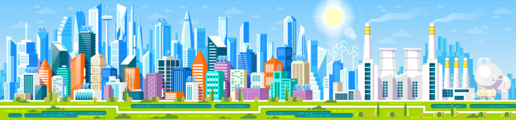 Cityscape panorama with different buildings, Office center, Stores and Headquarters. Industrial factory Manufacturing building