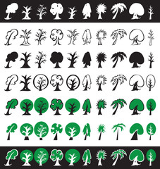 trees icons, silhouettes and symbols