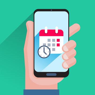 Calendar and clock on smartphone screen