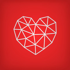Vector Valentine's day card. Geometric white heart ,made of triangles, on red background.