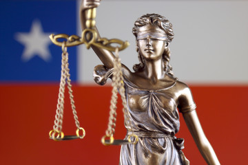 Symbol of law and justice with Chile Flag. Close up.