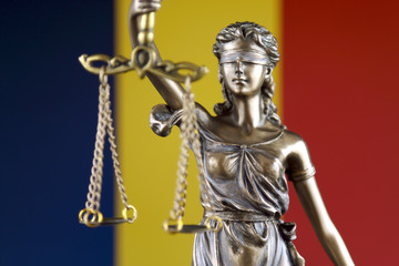 Symbol of law and justice with Chad Flag. Close up.
