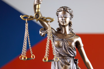Symbol of law and justice with Czech Republic Flag. Close up.