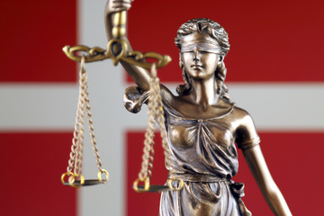 Symbol of law and justice with Denmark Flag. Close up.