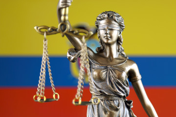 Symbol of law and justice with Ecuador Flag. Close up.