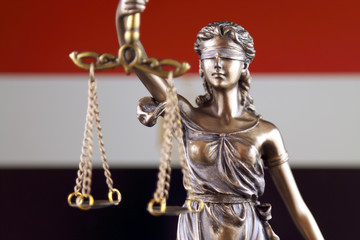 Symbol of law and justice with Egypt Flag. Close up.