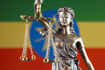 Symbol of law and justice with Ethiopia Flag. Close up.
