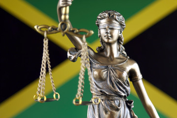 Symbol of law and justice with Jamaica Flag. Close up.