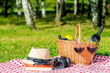 close-up objects with a basket for a picnic on a tablecloth on the lawn on a sunny day