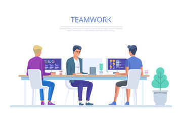 Team work in office. Creative team idea discussion people. Business characters in the working environment.