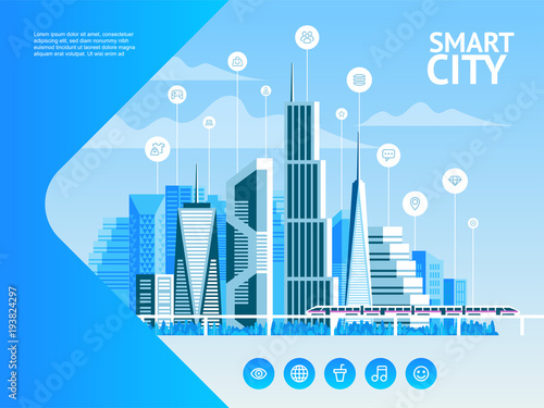 Smart City Urban Landscape With Infographic Elements Modern City