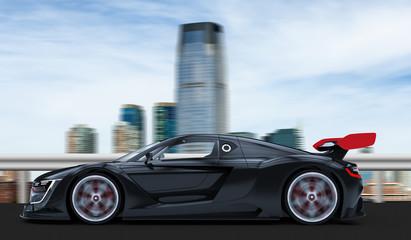 Black sport car in a city