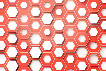 abstract red paper hexagon 3d-render background.