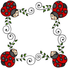 Decorative frame with leaves and ladybugs