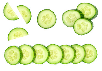 Collection of fresh green cucumbers isolated on white