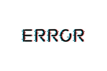 Vector realistic isolated error lettering with glitch and distortion effect for decoration and covering on the white background.