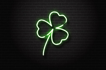Vector realistic isolated neon sign of clover leaf for decoration and covering on the wall background. Concept of Happy St. Patricks Day.