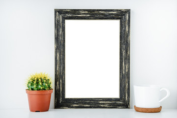 Black empty frame with white isolated background.