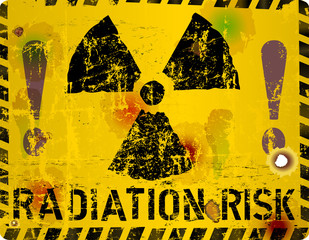 Radiation risk warning sign, vector illustration