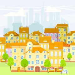 Cute cityscape, beautiful houses, old and modern, cartoon style, isolated, vector, illustration