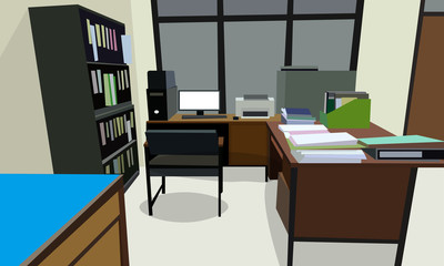 room office workplace design interior with cabinet, table chair book, bookcase and wall Cream color. vector illustration