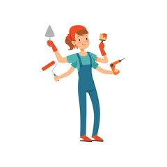 Multitasking female painter character, young professional paint job designer with many hands holding construction tools vector Illustration isolated on a white background