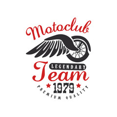 Motoclub logo, design element for motor or biker club, motorcycle repair shop, print for clothing vector Illustration on a white background