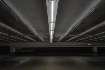 Dramatic shot of a parking garage